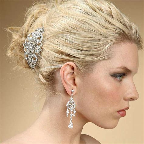 Vintage Wedding Hair Barrettes by Deco Wedding Barrette With Clear Austrian Crystals