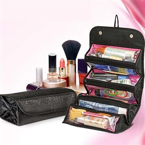 Tas Kosmetik Cosmetic Pouch Toiletry Travel Organizer Bag Baru travel roll up cosmetics makeup organizer pouch hanging toiletry bag ebay