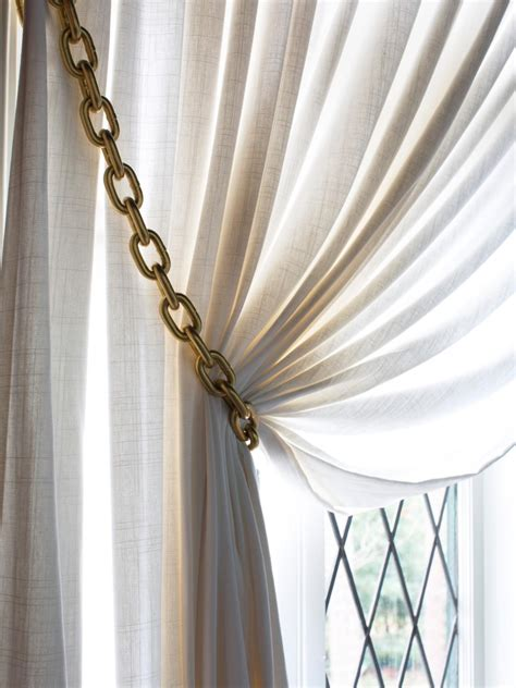 drapery tie backs ideas how to make gold chain curtain tiebacks hgtv