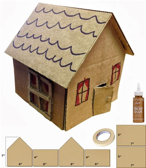 make a 3d house little cardboard houses cardboard houses kid art