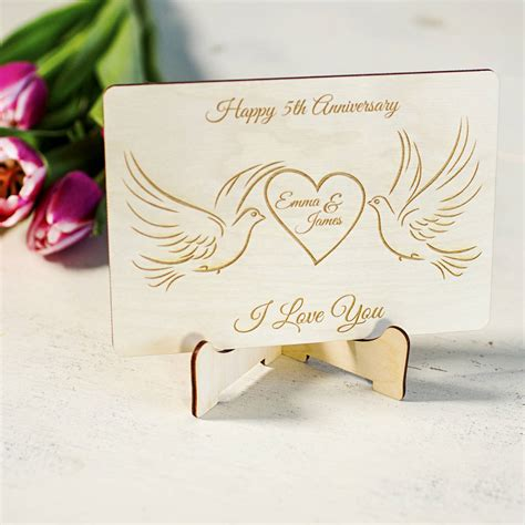 Wedding Anniversary Gift Stores by Wedding Anniversary Personalised Wooden Greeting Card By