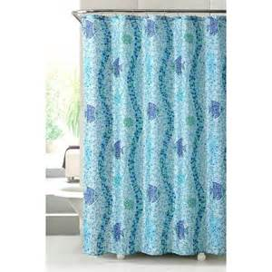 Fish Shower Curtains Fish Seashells Starfish Mosaic Tile Fabric Shower Curtain In Shades Of