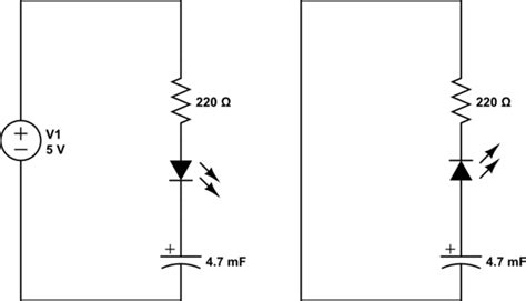 capacitor polarity in circuit howto discharge a capacitor through an led by removing the power electrical engineering stack