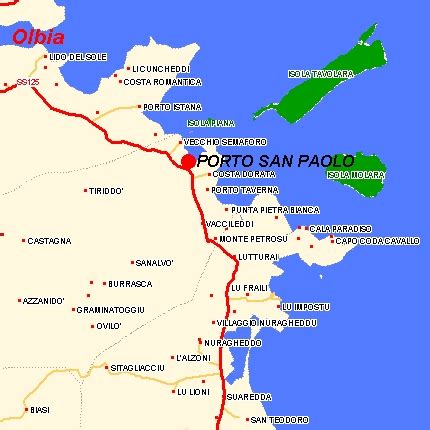porto san paolo sardegna map zone porto san paolo