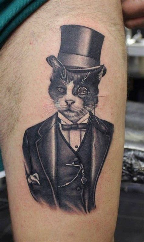 cat tattoo black and grey black and gray portrait of a gentleman cat tattoo by phatt