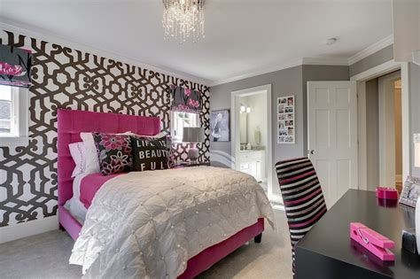 hot pink wallpaper for bedroom hot pink headboard contemporary bedroom great
