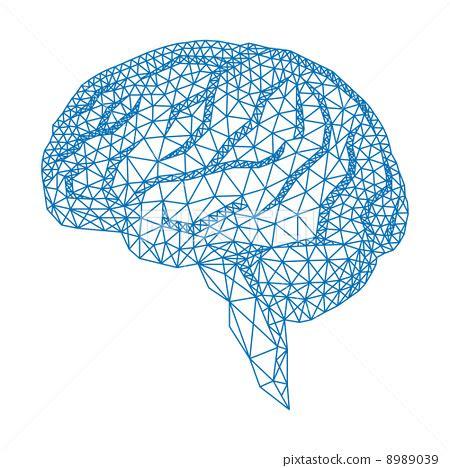 pattern analysis brain abstract blue human brain with geometric mesh pattern