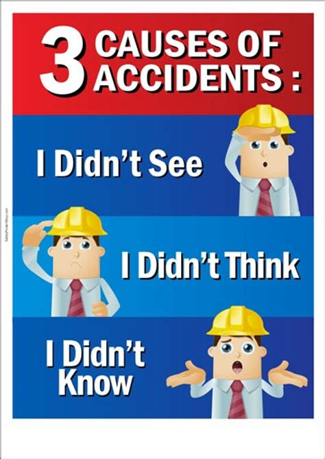 occupational safety poster 3 causes of accidents safety poster shop