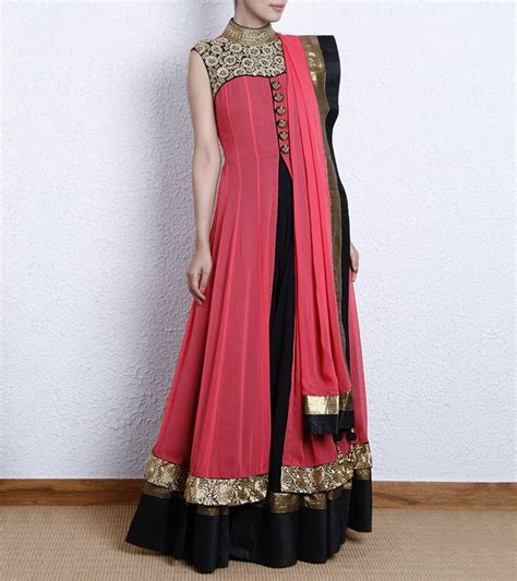 pink colour combination dresses black pink color combination long short embroidered