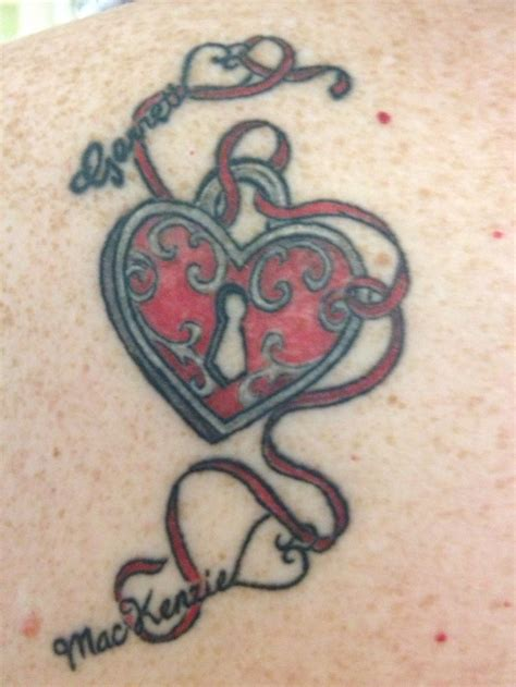 heart tattoo designs with kids names lock i got with my name are the
