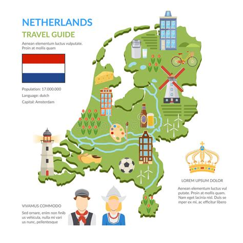 netherlands map clipart netherlands map flat infographics stock vector image