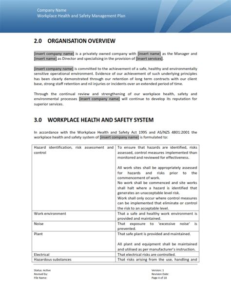 environmental health and safety plan template safety management plan templates range of safety