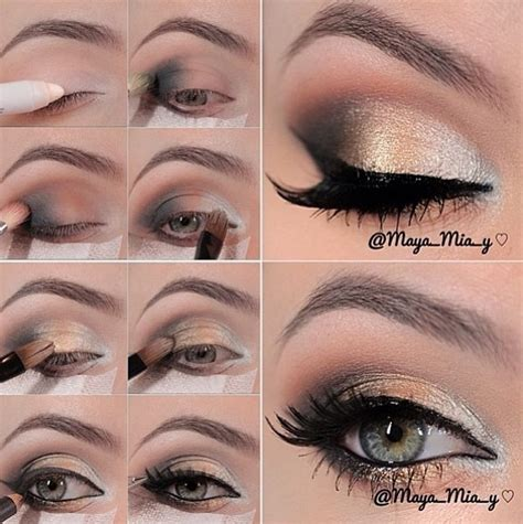eyeshadow tutorial with gold silver gold bronze eyeshadow makeup and nails