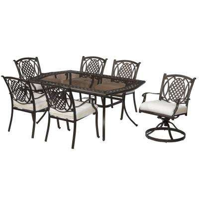 hton bay oak cliff custom 5 piece metal outdoor dining patio dining sets patio dining furniture the home depot