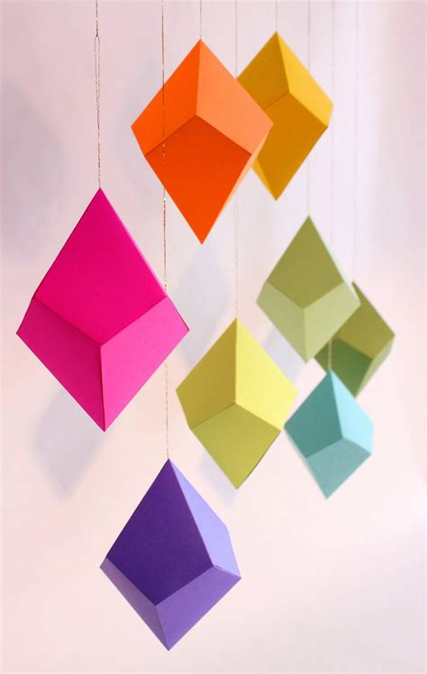 Diy Geometric Paper Ornaments Set Of 8 Paper Polyhedra Templates Brights Palette Design Paper Ornaments Templates