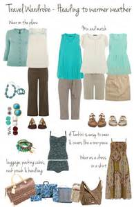 travel wardrobe in mint and brown capsule wardrobe