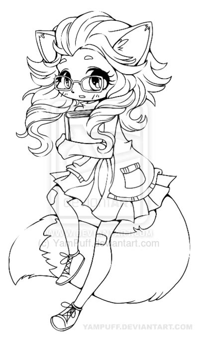sexy anime fox coloring pages coloring pages fox girl chibi lineart by yampuff deviantart com on