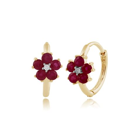 Ruby 5 70 Ct gemondo 9ct yellow gold 0 70ct floral ruby hoop