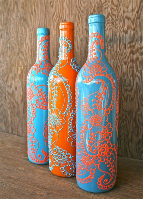 set 3 hand painted wine bottle vases turquoise and