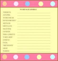 free printable baby shower word scramble www