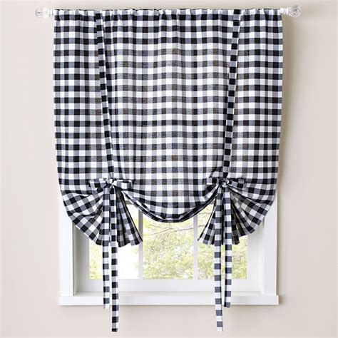 tie up kitchen curtains buffalo check tie up window shade kitchen curtains brylanehome