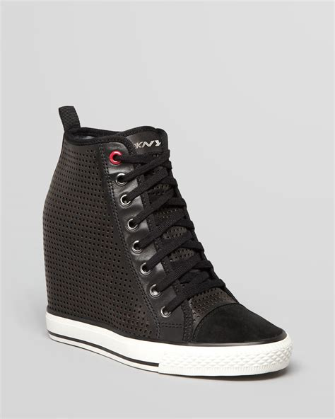 dkny lace up wedge sneakers grommet perforated in black lyst