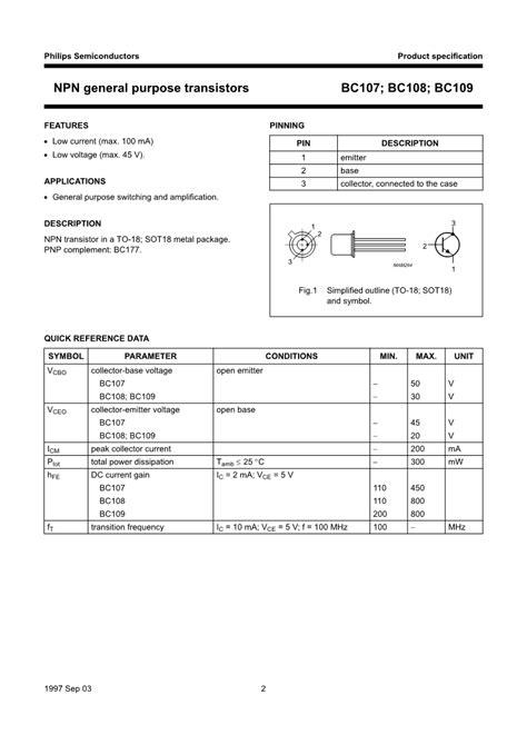 datasheet of transistor bc107 bc107 bc108 bc109 npn transistor datasheet electronic component datasheets