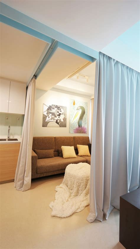 curtains room tiny apartment uses fabric curtains to divide its spaces