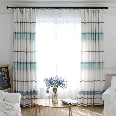 White And Blue Striped Curtains Blue And White Striped Modern Curtains