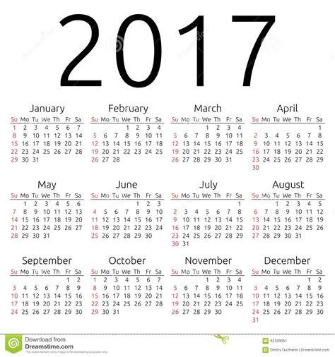 Calendario Z Calend 225 2017 Do Vetor Domingo Ilustra 231 227 O Do Vetor