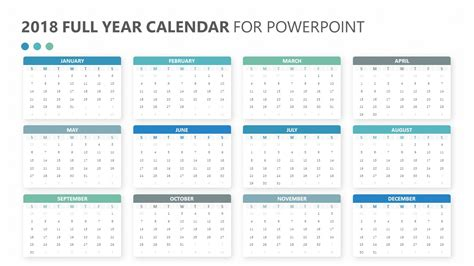 2018 year calendar for powerpoint pslides