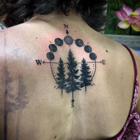 moon cycle tattoo nic lebrun tattoos nature tree blackwork forest