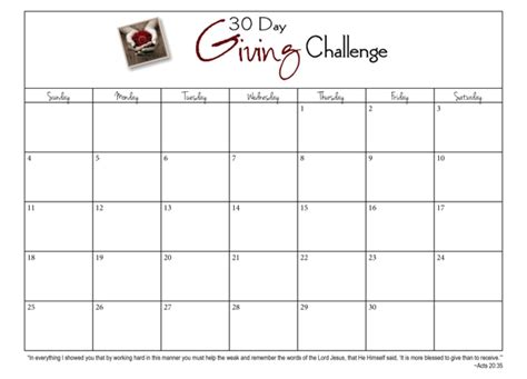 calendar template to type in 30 day giving challenge days 3 9 30daygive www