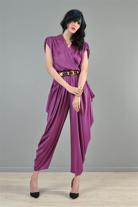 Draped Harem plum colored 1980s harem draped jumpsuit bustown modern