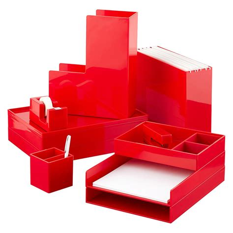 red office desk accessories red poppin accessory trays the container store