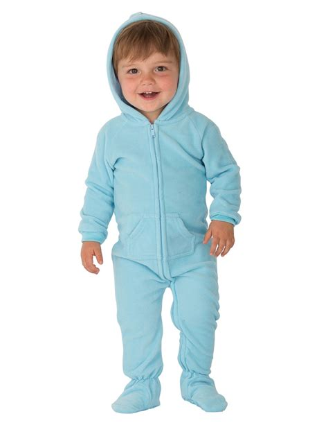 Pajamas Baby baby blue hoodie one infant hooded footed pajamas