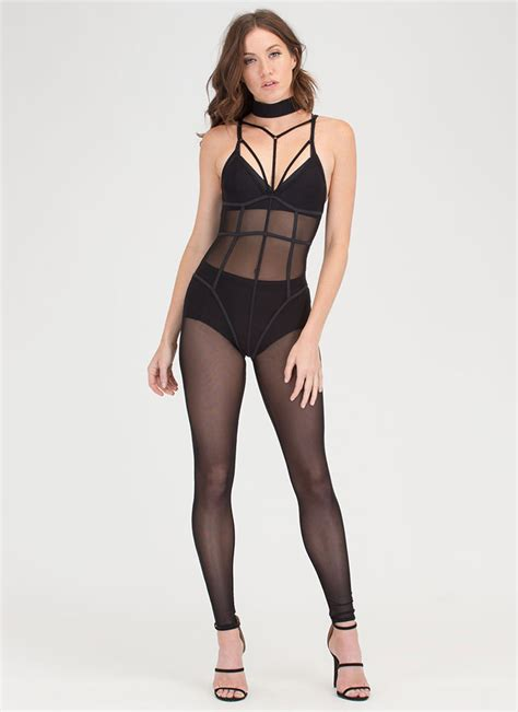 sheer about it caged mesh jumpsuit black rust gojane