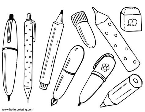 coloring supplies school supplies coloring pages with eraser free