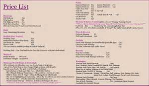 Makeup Price List Template Price List Boudoir Belle Makeup Artist Southampton