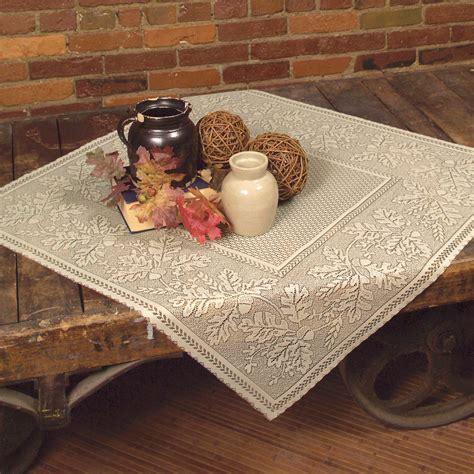 leaf harvest 36 inch square lace table topper