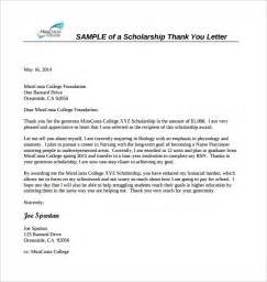 Thank You Note After Receiving Scholarship Sle Scholarship Thank You Letter 11 Documents In Pdf Word