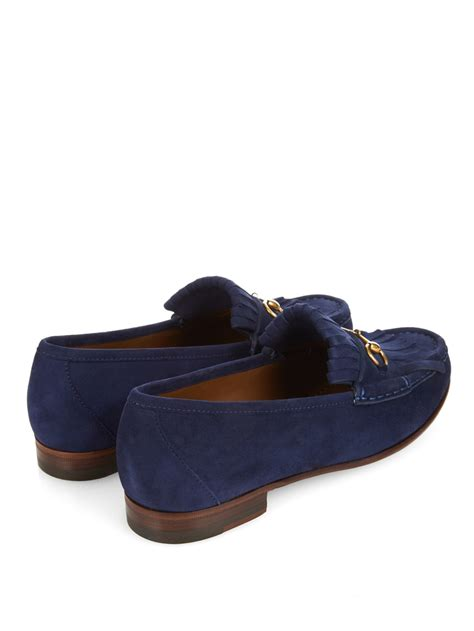 gucci suede loafer lyst gucci horsebit suede loafers in blue