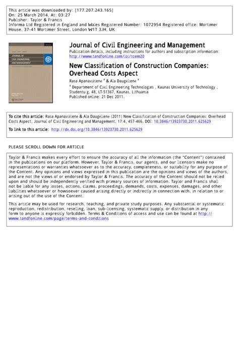 classification  construction companies overhead costs aspect