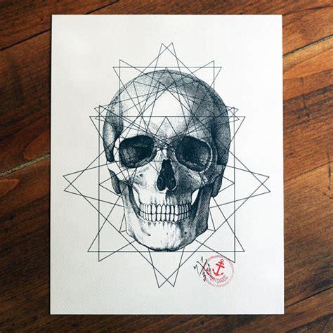 geometric tattoo birmingham limited geometric skull tattoo print 50 50 signed