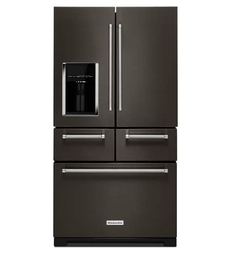 new door refrigerator black stainless 5 door refrigerator by kitchenaid black
