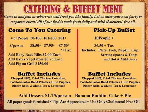 menu ideas bbq menu catering menu