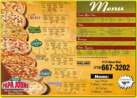papa s pizza menu and prices 2017 restaurantfoodmenu