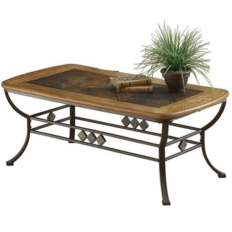 lakeview rectangle slate top coffee table in brown and