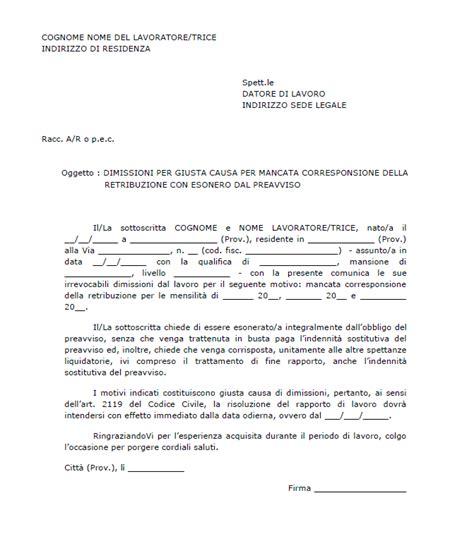 lettere licenziamento lettera di dimissioni per giusta causa curriculum vitae 2018