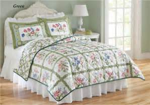 Summer Quilts King Size Beautiful Green Summer Floral King Size 3 Pc Quilt Bed Set New